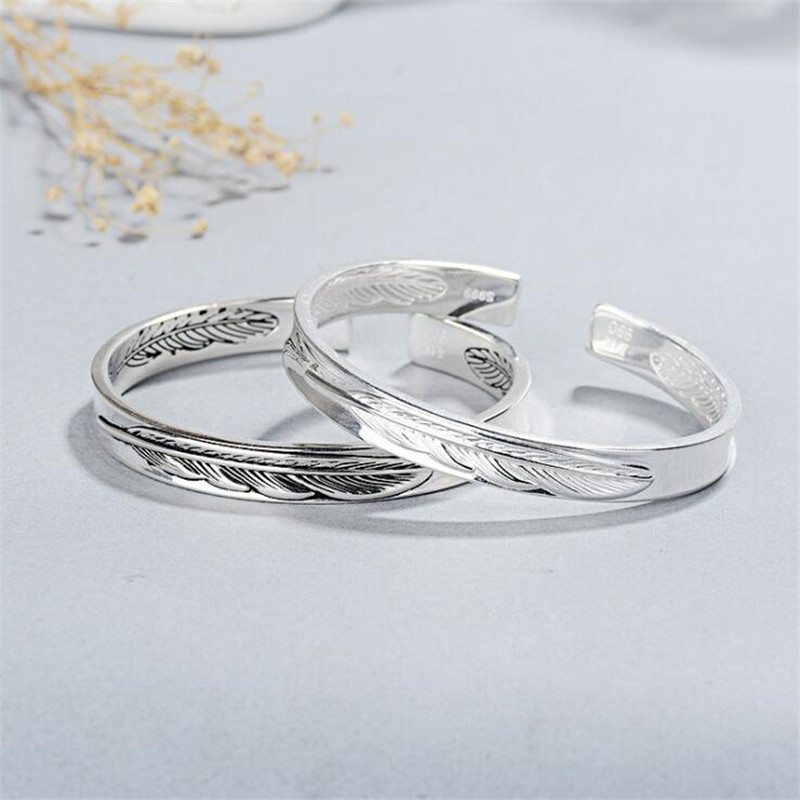 New Exquisite Fashion Sweet Feather Bracelets 925 Sterling Silver Jewelry Personality Letter Couples Opening Rings SB198
