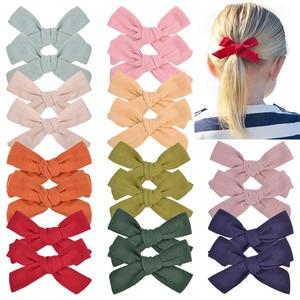 2PCS/Lot Cotton 3.9 inch Bow with Clip Child Girl Boutique Hair Bows Handmade Hair Clips Barrettes Headwear Kid Hair Accessories