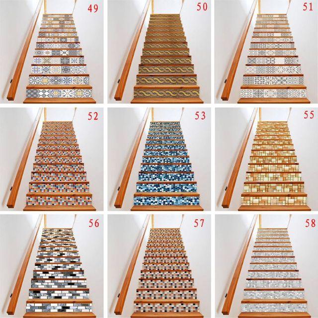 13 ピース/セット 3D 階段ライザー床ステッカー防水自己粘着 diy 階段壁画家の装飾 X4YD