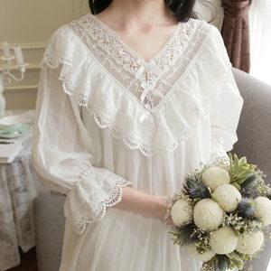 Image 4 - Womens Vintage Gothic Victorian Night Dress White Cotton Flare Sleeve V Neck Lace Embellished Ruffle Hem Autumn Nightgown T29