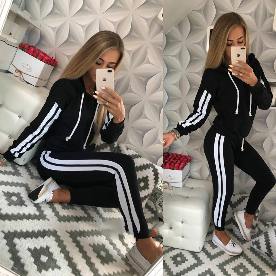 Beautiful Women's New Sports And Leisure Suit Two Piece Bodysuit With Cap