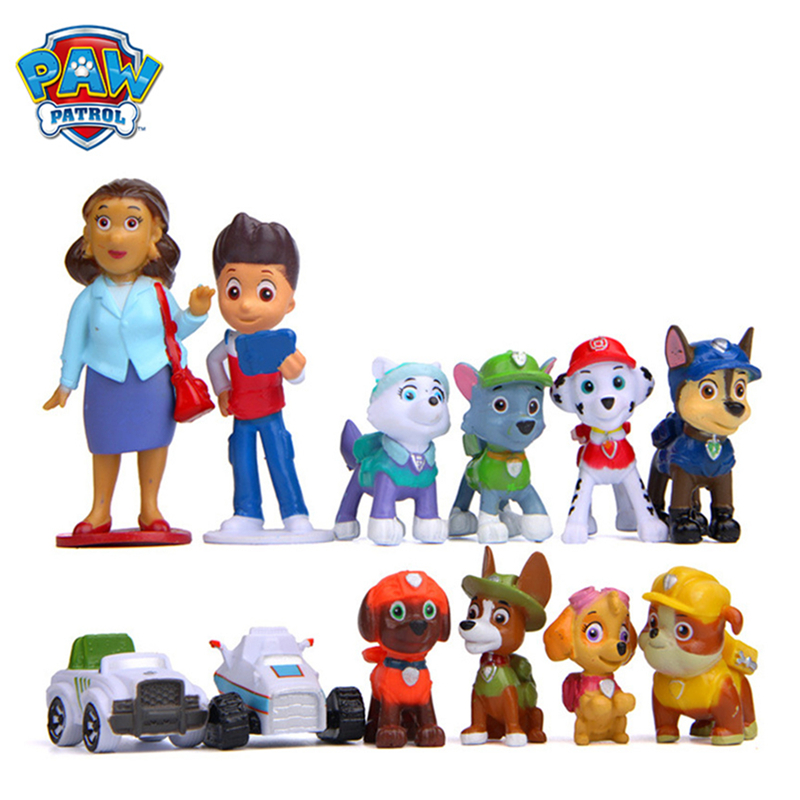 12pcs/set Paw Patrol Rescue Dog Everest Figure Dolls Set Toys PVC Sliding Select Figure Anime Action Model Child Birthday Gift
