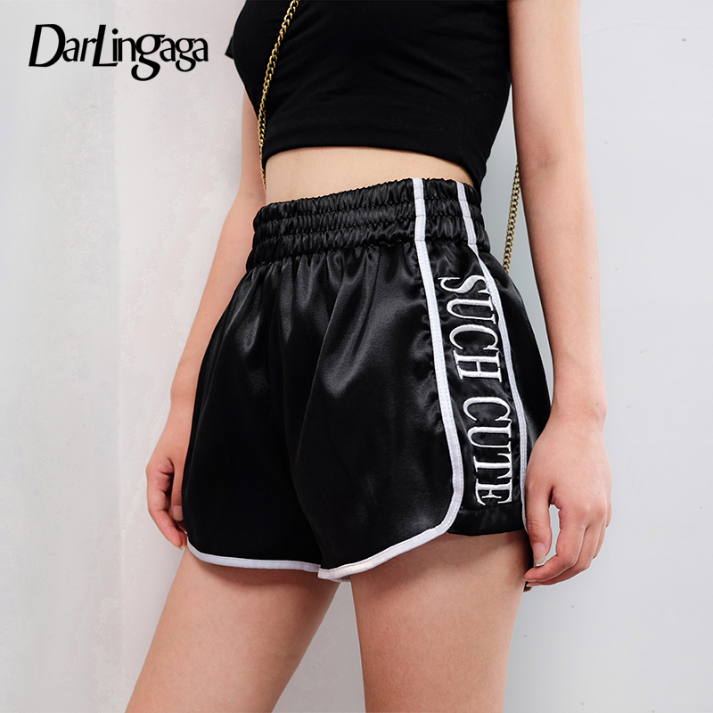 Darlingaga Casual Side Stripe Patchwork Satin Summer Shorts Women Straight Loose High Waist Booty Shorts Letter Embroidry Short