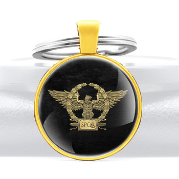 Classic Antique Black SPQR Eagle Rome Glass Dome Key Chains Charm Men Women Key Ring Keyfob Jewelry Gift image