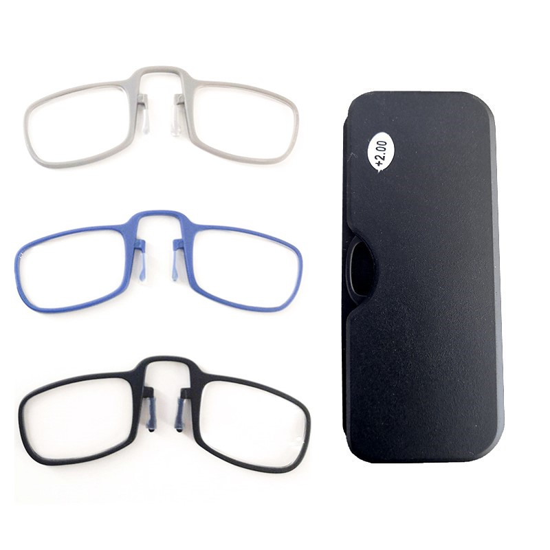 2019 Newest Mini SOS Wallet Reading Glasses Nose Clip On Presbyopic Glasses Men's And Women Men Glass Frame Black High Quality