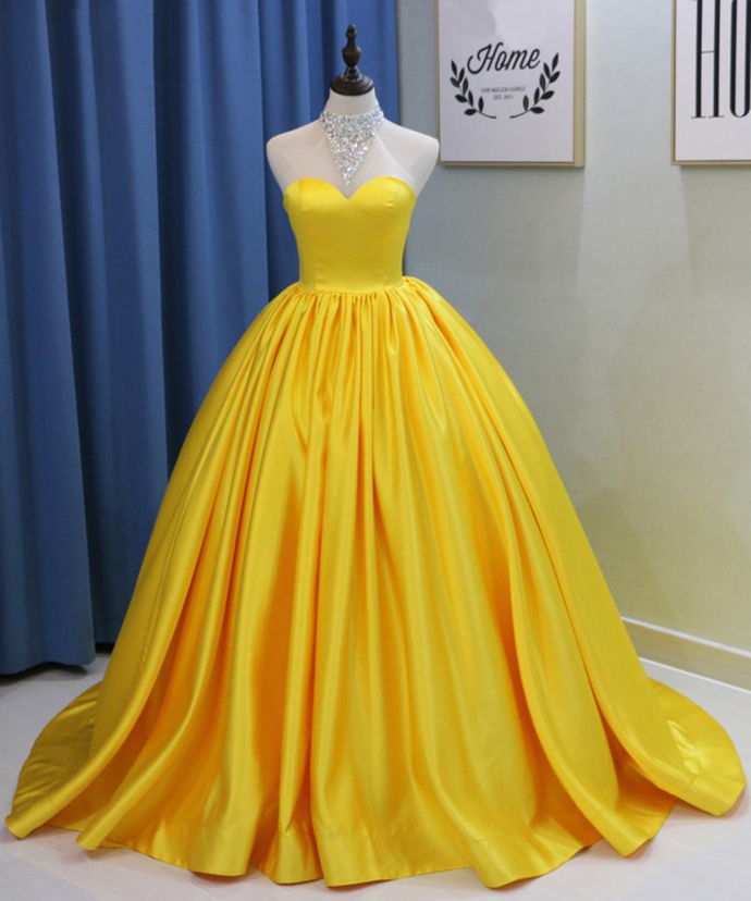 ball gown yellow sweet 16 dresses