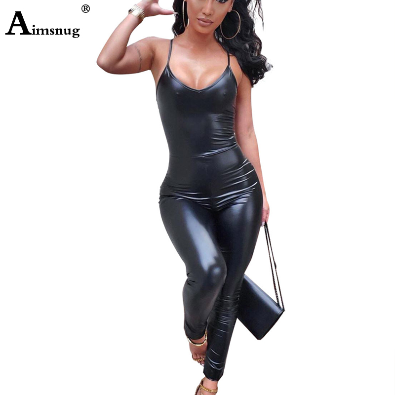 Spaghetti Strap PU Leather Jumpsuits V Neck Bodysuits Women Back Zipper Faux Leather Catsuit Fetish Wear Sexy Black Overalls