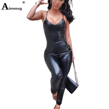 Spaghetti Strap PU Leather Jumpsuits V Neck Bodysuits Women Back Zipper Faux Catsuit Fetish Wear Sexy Black Overalls