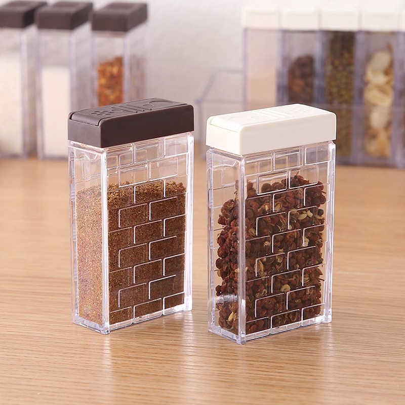 Kitchen Seasoning Boxes Bottles Jars Plastic Spice Lid Storage Organizer Sugar Pepper Layers Box Home Organization Accessories