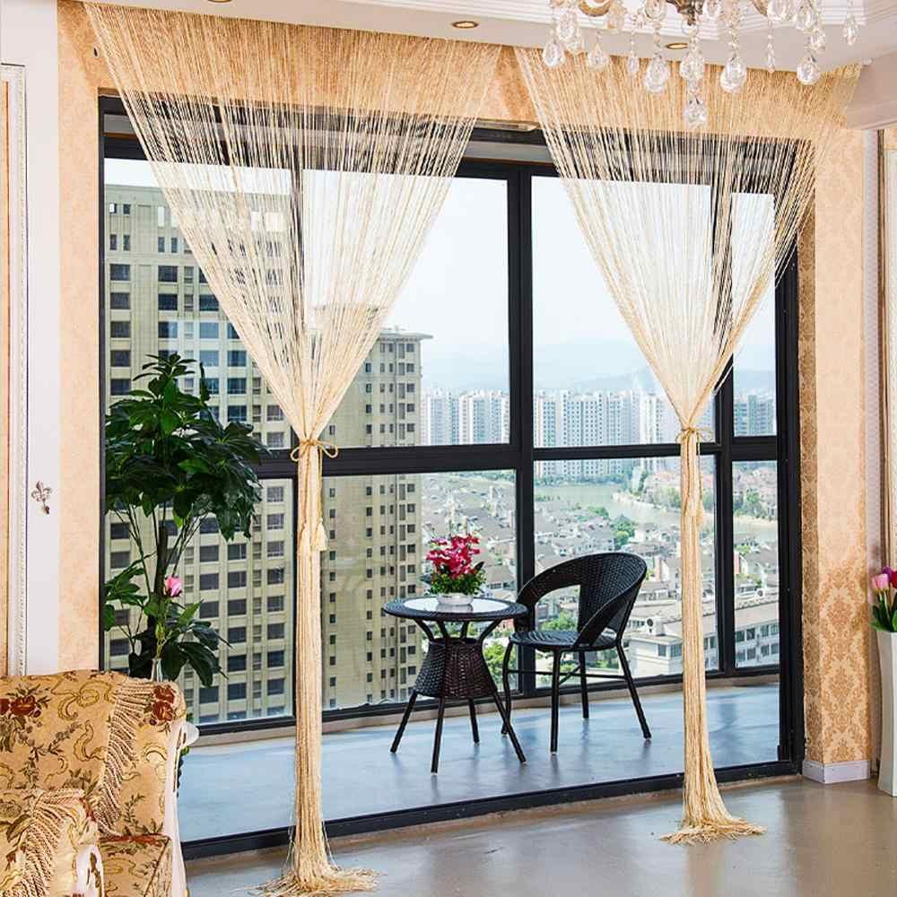 וילונות חוט מחרוזת וילון דלת ציצית חרוז Sheer וילון פנל עבור חלון חדר שינה סלון 1*2M