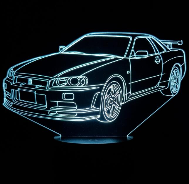 Multi Colors 3D Car Night Lamp Acrylic Panel Car Shape LED Light With 7 Colors Change Touch Or Remote Control Drop Ship