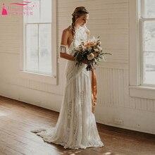 Sonhador único vestidos de casamento cigano hippie impressionante rendas vestidos de noiva boêmio chique borla zw229