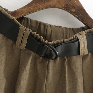 Image 5 - Johnature Frauen Breite Bein Hosen Taschen Elastische Taille 2020 Herbst Neue Feste Farbe Baumwolle Leinen Hosen Lässig Frauen Hosen