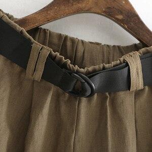Image 5 - Женские брюки с широкими штанинами Johnature, однотонные хлопково льняные с карманами и эластичной талией, повседневные штаны для осени, 2020