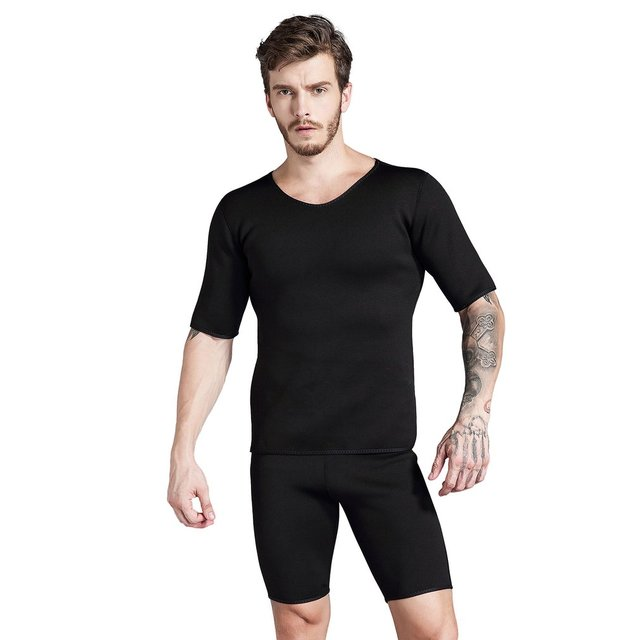 Short Sleeve Neoprene Mens Body Shape T-Shirt