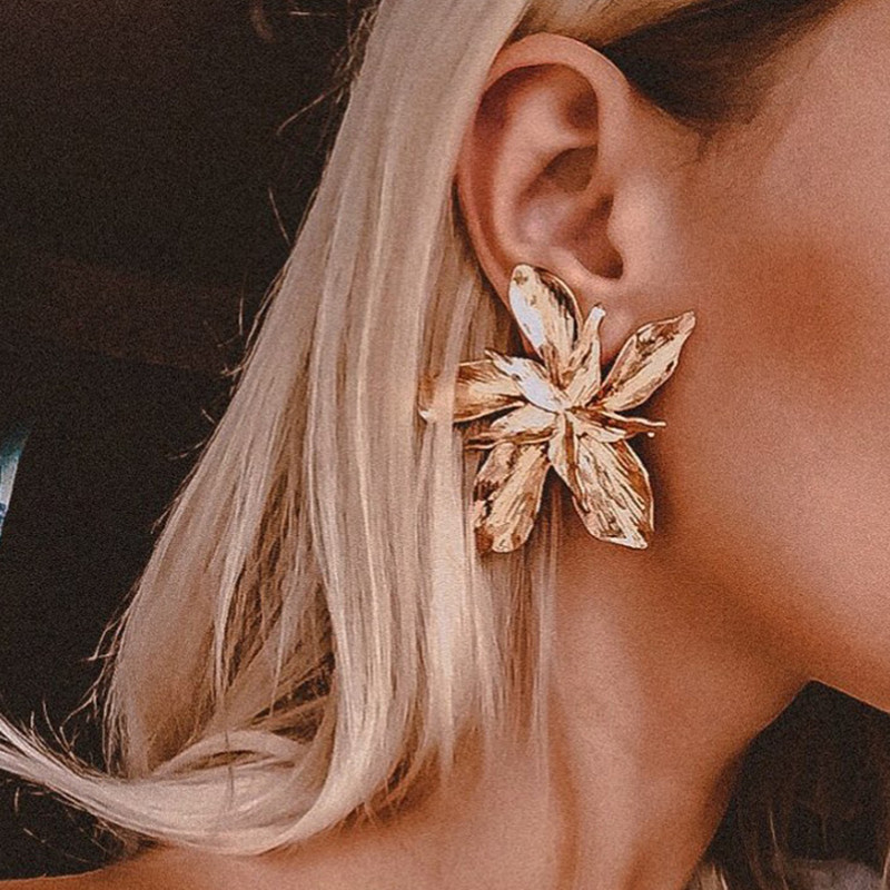 DIEZI Exaggeration Fashion Big Flower Dangle Drop Earrings For Women Ladies Statement Pendant Earrings 2019 New Pendientes