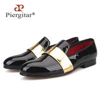 Piergitar handmade leather men's loafers with gold patent leather stripe fashion party and wedding men dress shoes men's flats