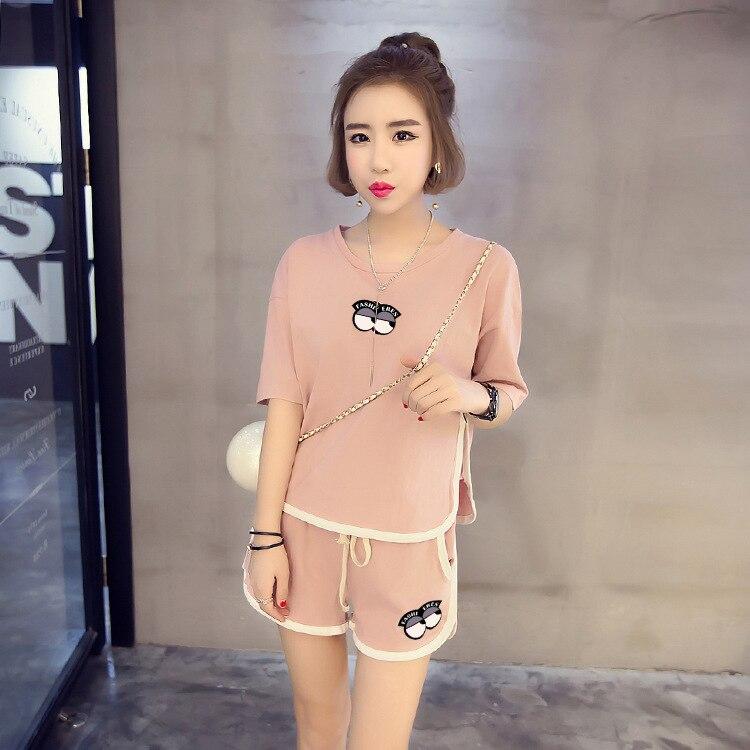 [[Jun Xin]] Summer Short-sleeved Pajamas Small Eyes Pink Two-color Qmilch M -Xxl