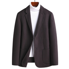 New Fashion Autumn Winter Handmade Double Faced Suit Wool Men Cashmere Blazer Casual Thick Single Breasted Plus Size M-3XL 4XL