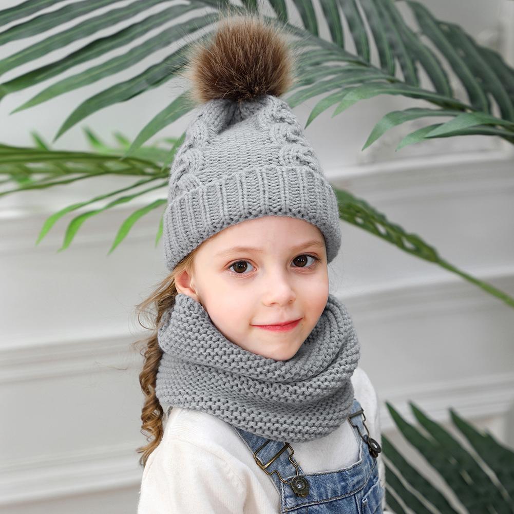 2pcs Winter Hats Good Flexible Elasticity Acrylic Fibers Kids Pompom Knitted Beanie Neck Warm Pullover Caps+Scarfs Suit