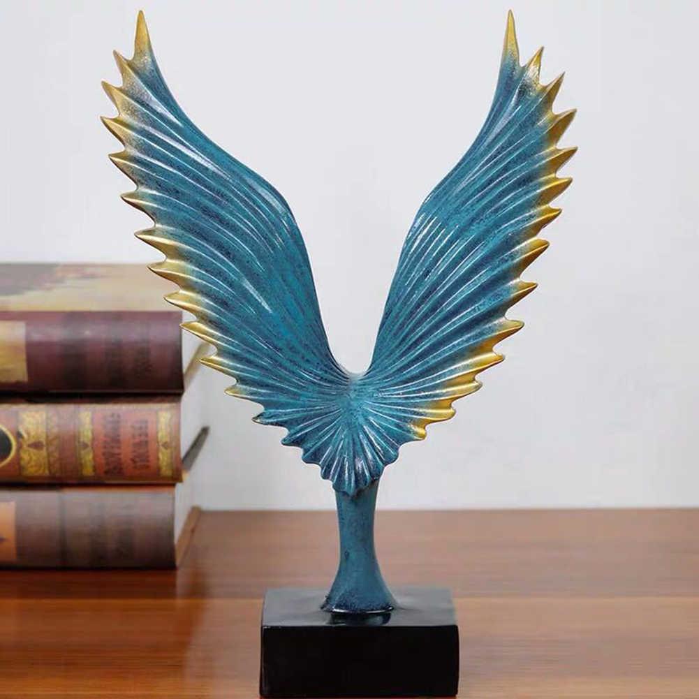 Resina Estátuas Decorativas Abstrato Simulado Aberto Asa Do Pássaro Estátua Casa Escultura de Estátuas de Animais Decoração Da Parede Art Home Decor