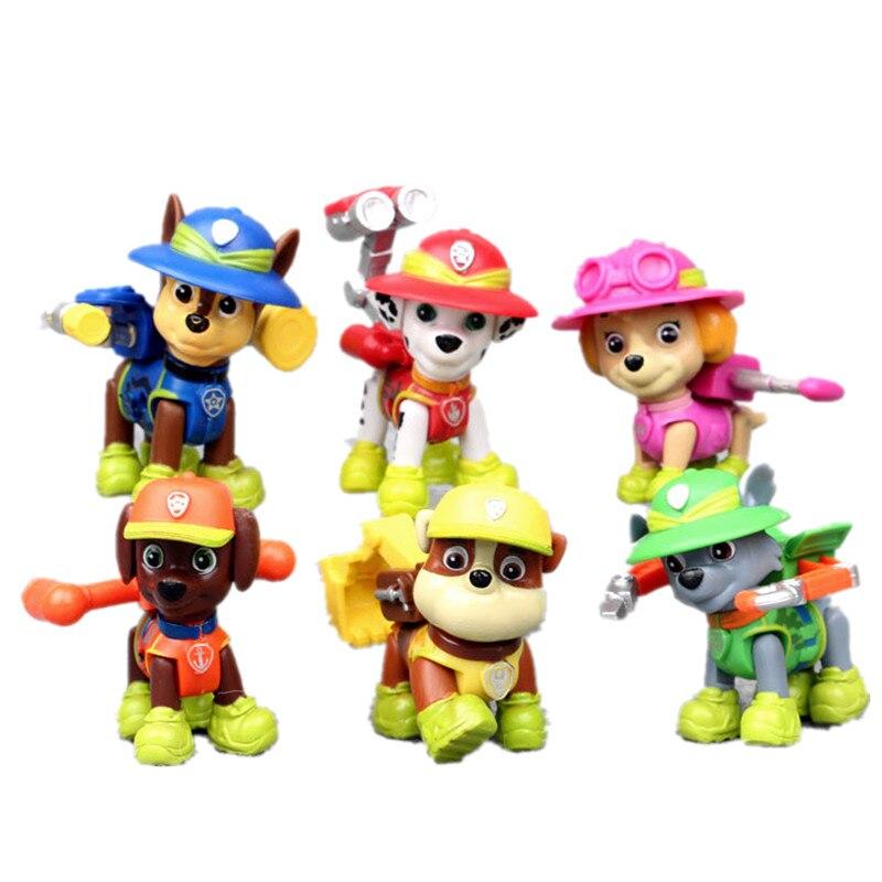 6pcs/set Paw Patrol Dog Patrulla Canina Toy  Anime Figurine Car Plastic Toy Action Figure Model Children Toys