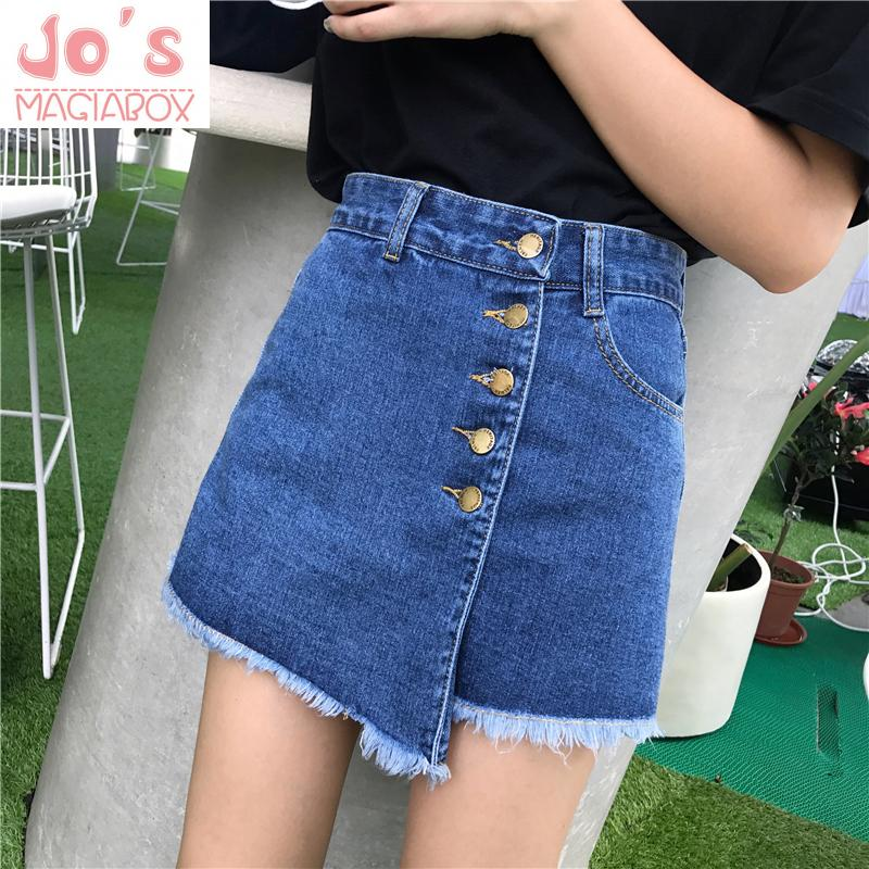 Korean Women Solid Empire Denim Shorts Skirts Casual Female Button Fly Loose Shorts Vintage Pockets High Waist Mini Jeans Shorts