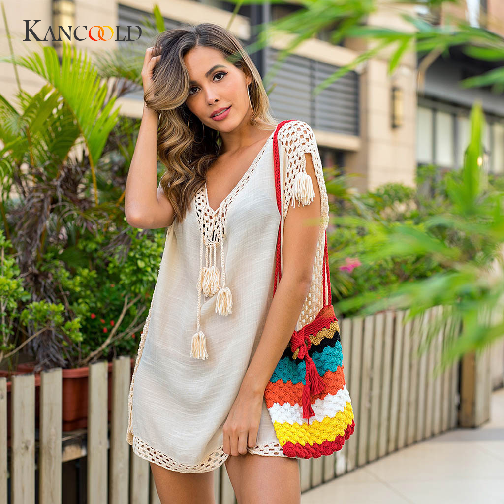 Womens Fringed Crochet Cover-up