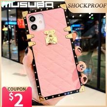 Musubo lüks kılıf iPhone 12 Fundas deri kapak iPhone 11 Pro Max XR Xs 8 artı 7 6 6s Hoesje Coque moda muhafaza SE 2