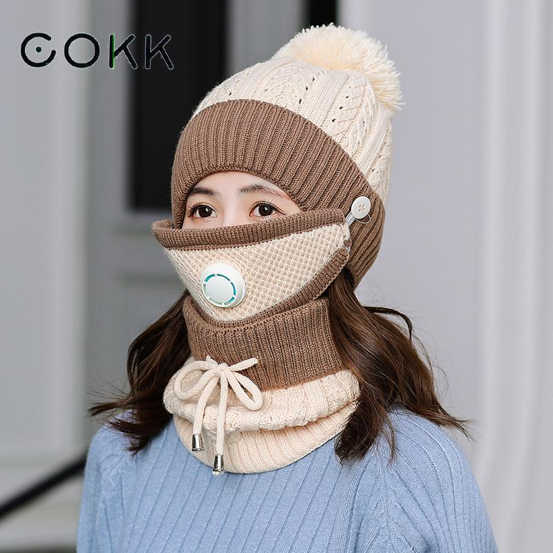 COKK Winter Hat And Scarf With Mask Breathable Velvet Thick Warm Windproof Collars Sets For Women Ladies Hat & Scarf Outdoor New
