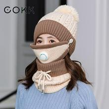 COKK Winter Hat And Scarf With Mask Breathable Velvet Thick warm Windproof Collars Sets For Women Ladies & Outdoor New