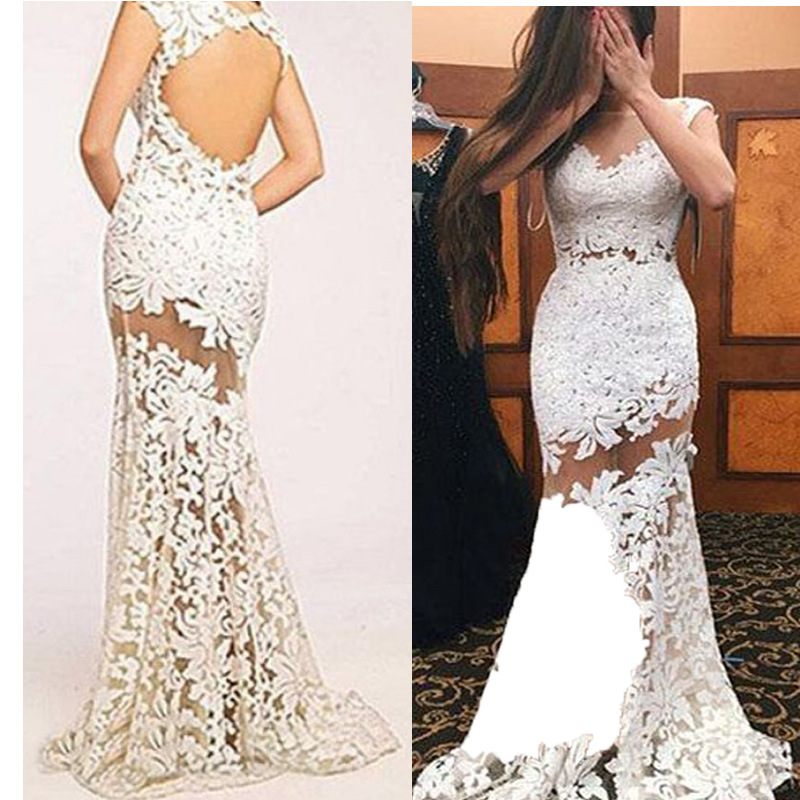 2019 Europe And America New Style Dress Sexy White Lace Backless Hollow Out Formal Dress Long Skirts WOMEN'S Dress