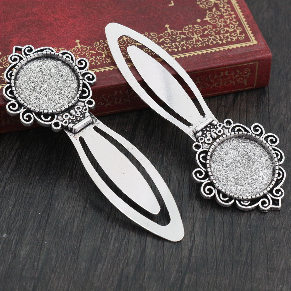 New Fashion 2pcs 20mm Inner Size Antique Silver Plated Simple Style Handmade Bookmark Cabochon Base  Cameo Setting (I1-24)
