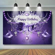 Masquerade Party Backdrop Retro Mask Birthday Dance Decor Purple Diamond and Pearl Backdrops Photography Background