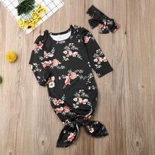 Emmababy ночные рубашки с длинным рукавом для новорожденных мальчиков и девочек, одежда для сна, детский спальный мешок+ повязка на голову на осень
