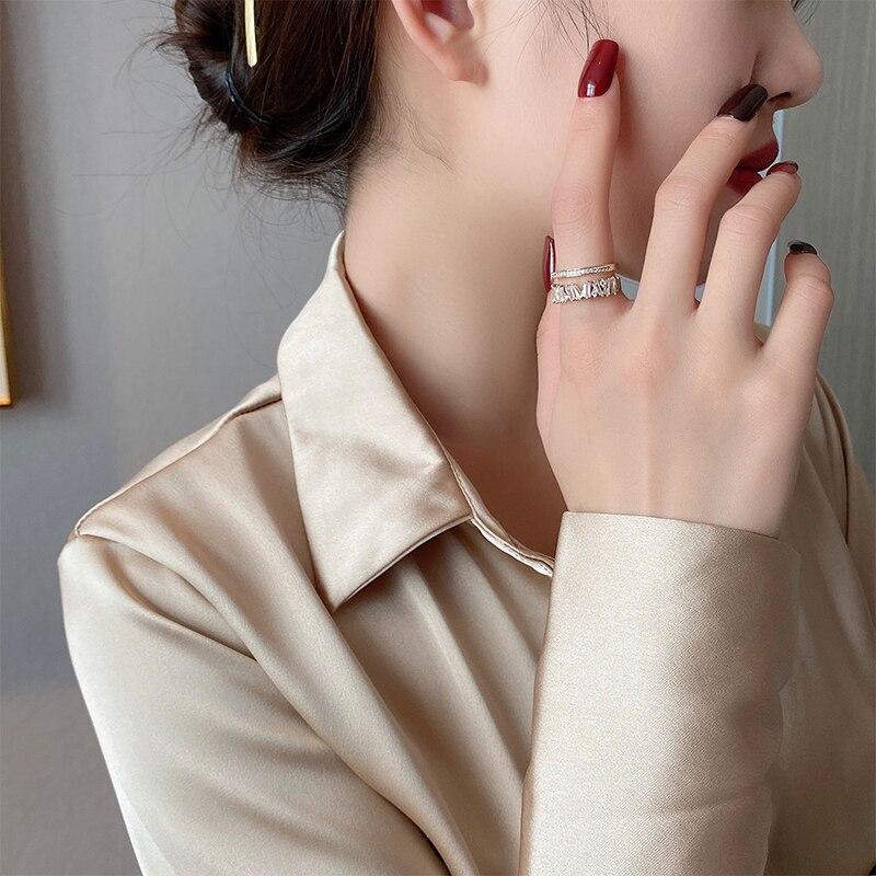 Anelli di apertura per studenti doppi in oro con zirconi di lusso per donna 2021 anello Sexy per ragazza da festa di nozze con gioielli gotici di nuova moda 2