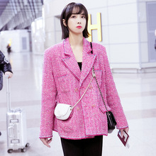 Autumn 2019 Same Style As The Pink Chiffon Tweed Coat Which Is Popular with Women Turn-down Collar Plaid Jacket