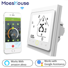Inteligentny termostat regulacja WiFi regulator temperatury wody ogrzewania podłogowego gazowego kotła grzewczego współpracuje z Alexa Google Home tanie tanio MoesHouse CN (pochodzenie) 95-240VAC 50~60HZ Resistance 5A Inductive 3A Resistance 3A Inductive 1A NTC3950 10K +-0 5 C