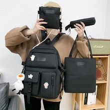 4 Pcs Set New Casual Backpack School Bag For Teenager Girl Women Backpack Cute Student Shoulder Bags Children