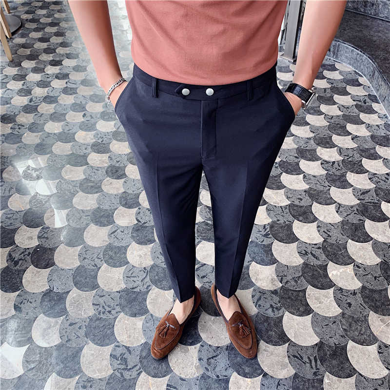 Pantalones Tobilleros De Estilo Britanico Para Hombre Pantalon De Oficina Traje Pantalones Ajustados Primavera 2020 Pantalones De Traje Aliexpress