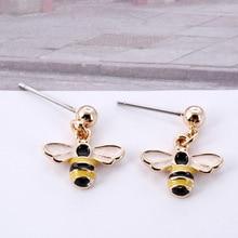 Japanese and Korean Personality Temperament Creative Niche Design Sen Small Earrings Cartoon Drop Oil Bee Female