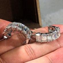Huitan Fancy Rectangle CZ Stud Earrings Women Gorgeous Bridal Wedding Engagement Jewelry Delicate Love Gift Statement Earring