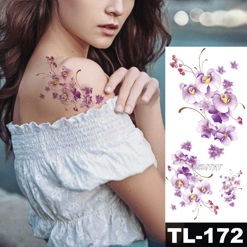 1 Buah Pink Tua Garis Sederhana Teks Palsu Tato Sementara Stiker Mawar Bunga Lengan Bahu Tato Tahan Air Wanita Flash Tatto