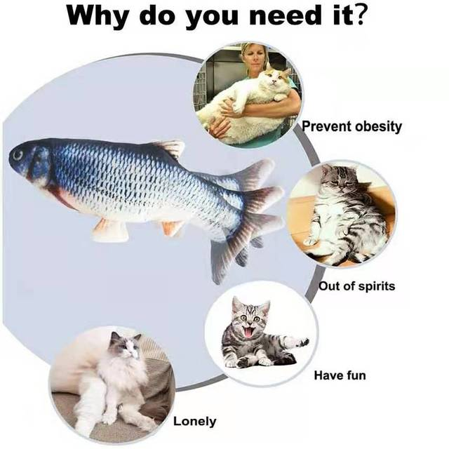 Cat USB Charger Toy Fish Interactive Electric floppy Fish Cat toy Realistic Pet Cats Chew Bite Toys Pet Supplies Cats dog toy 6