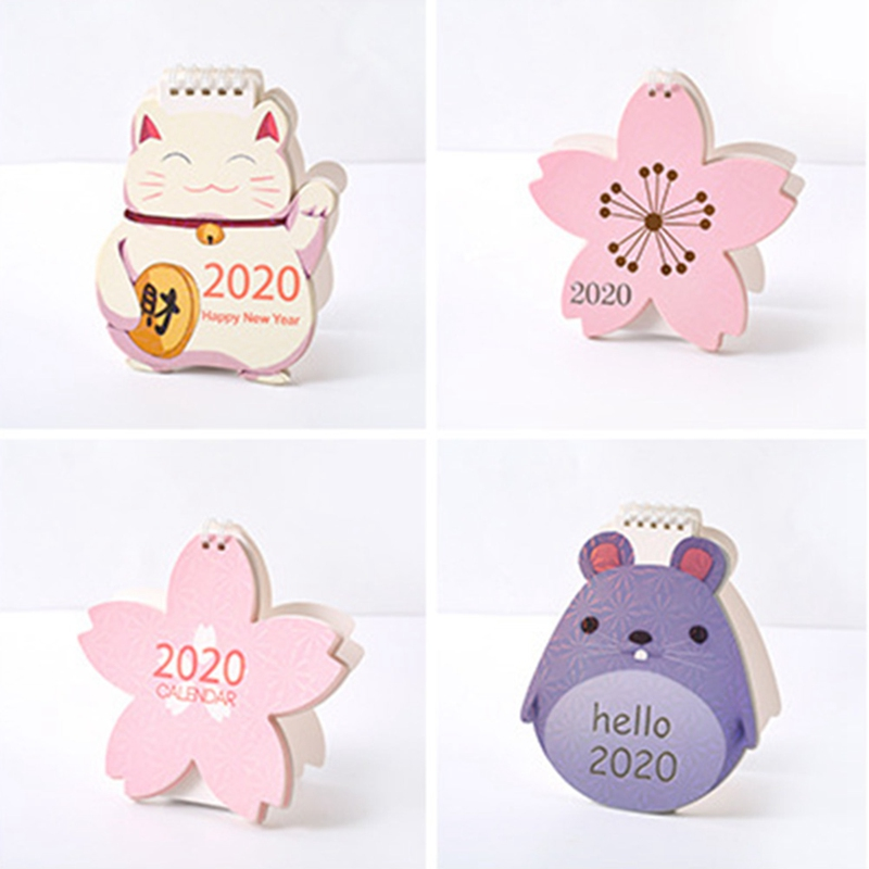 2020 Cute Cartoon Animal Mini Desk Calendar Decoration Cute Girl Creative Desktop Calendar Planer Kawaii Agenda Table Calendar