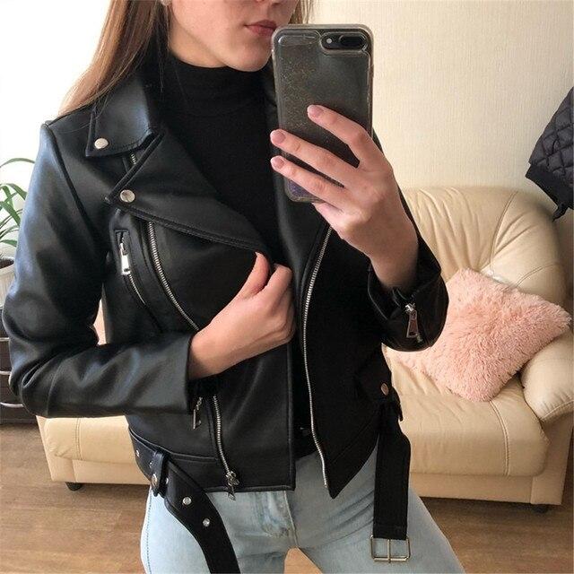 Women Cool Faux Leather Jacket Long Sleeve Zipper Fitted Coat Fall Short Jacket Autumn Winter Motorcycle Streetwear Outwear 1