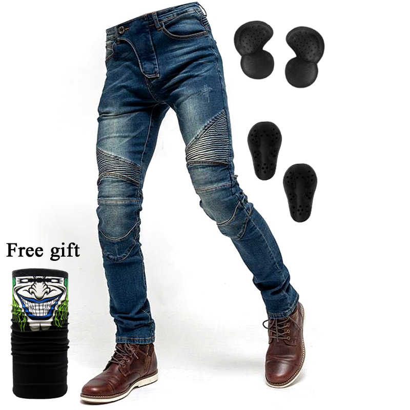 Free Shipping NEW 2019 Fashion Men Women Black or blue motorcycle Jeans Motorcycle Racing Pants With Pads