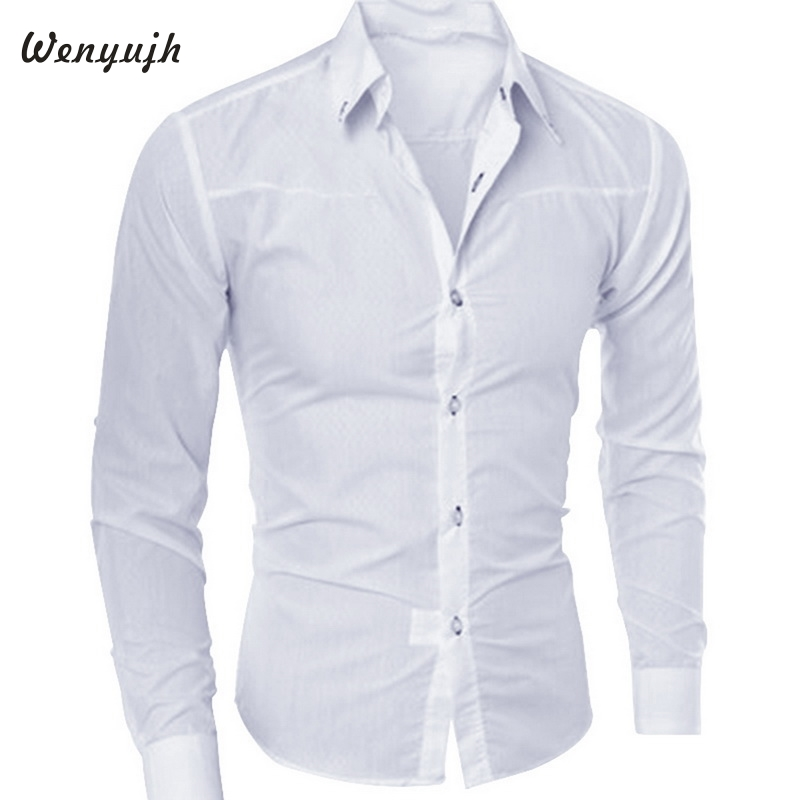 Wenyujh Men Slim Long-sleeved Shirt Fashion Dark Plaid Hot Sales 2019 Autumn Fashion Dress Shirts Solid Color Large Size Blouse