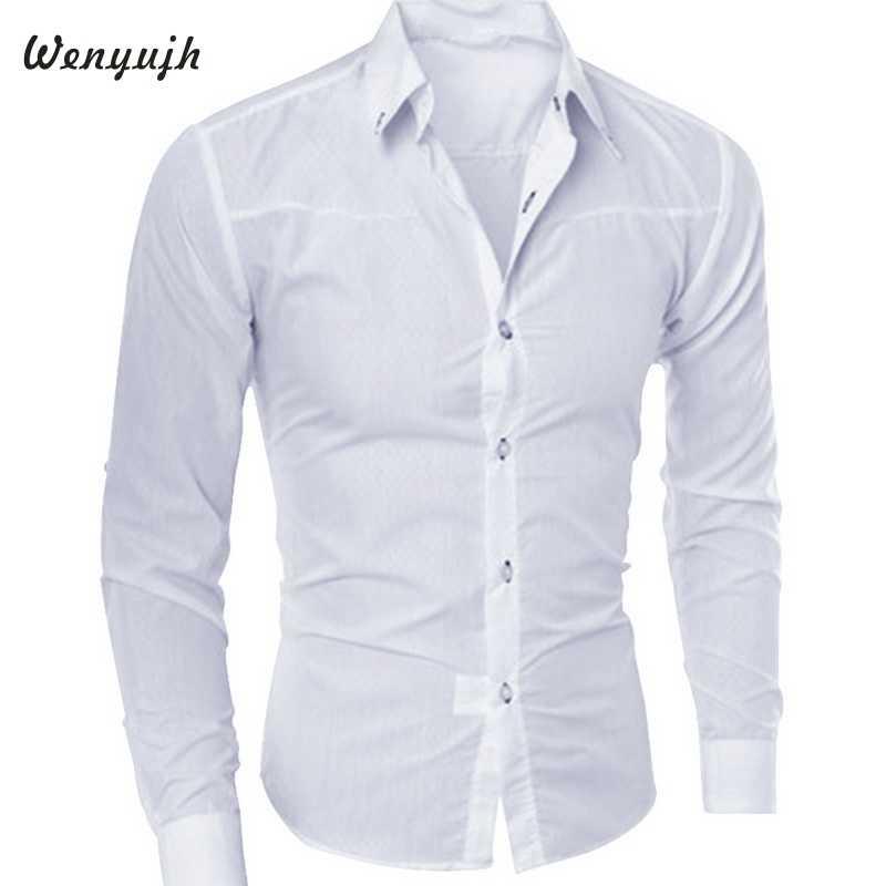 Wenyujh الرجال ضئيلة طويلة الأكمام قميص موضة الظلام منقوشة حار مبيعات 2019 الخريف فساتين راقية قمصان بلون بلوزة كبيرة الحجم