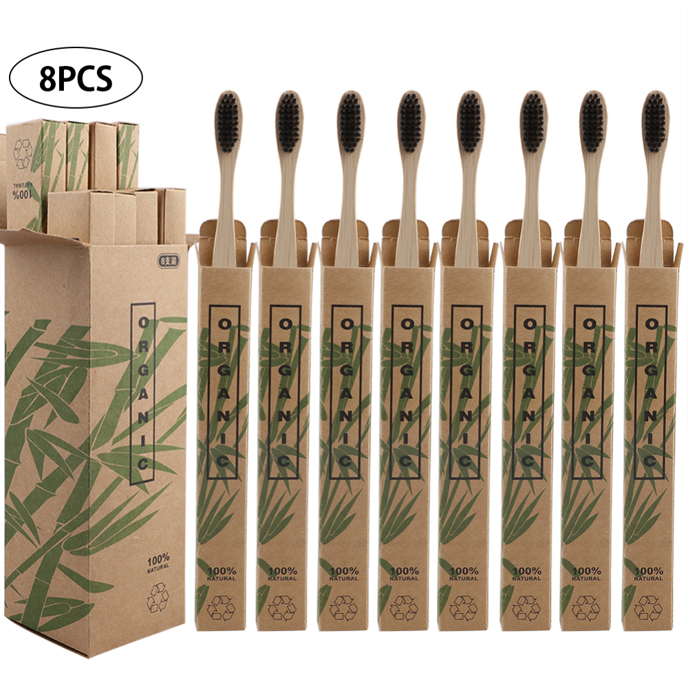 8pcs Travel Environmentally Bamboo Toothbrushes Bristle Oral Care Tooth Brush image